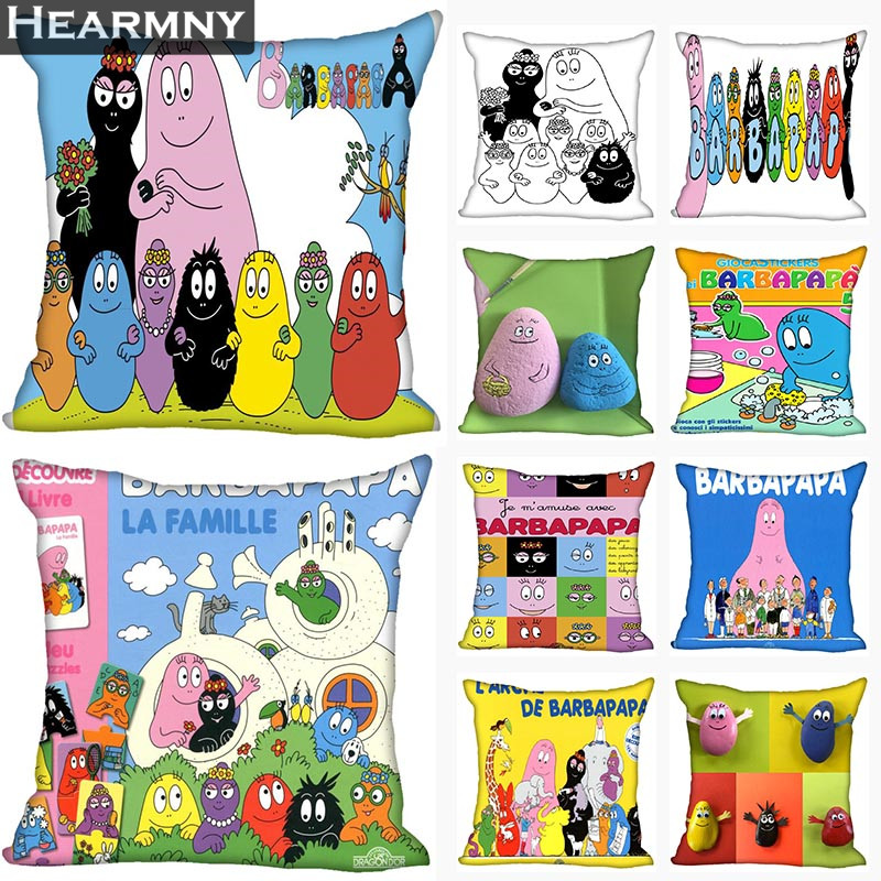 New Arrival Barbapapa Pillow Cover Bedroom Home Office Decorative Pillowcase Square Zipper Pillow Cases Satin Soft No Fade