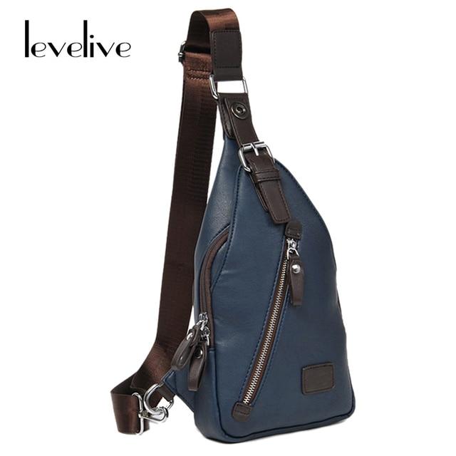 Levelive Safety On Men S Leather Chest Pack Bag For Travel Shoulder Crossbody Man Messenger