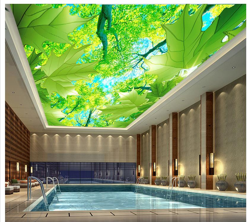 3d customized wallpaper Home Decoration Maple leaf tree green ceiling 3d ceiling murals wallpaper Обои