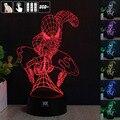 HUI YUAN Spider-Man 3D Luz de La Noche el estado de Ánimo Cambiante RGB Lámpara LED decorativa lámpara de mesa de luz dc 5 v usb conseguir un free remote control
