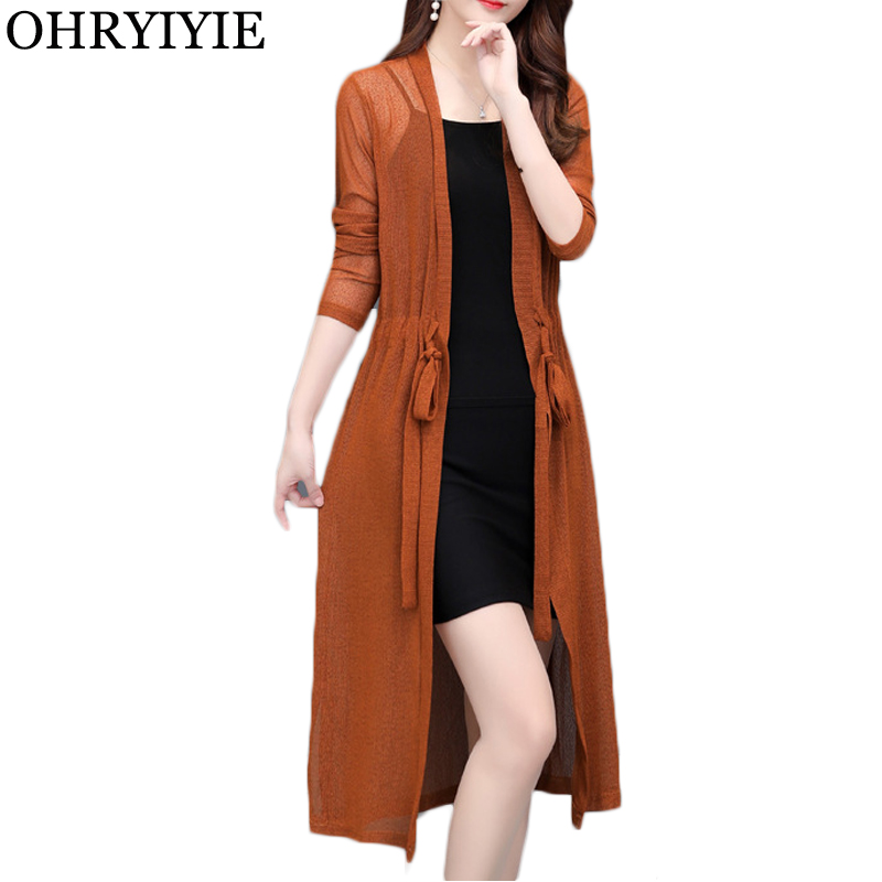 OHRYIYIE Plus Size 5XL New Spring Summer Thin Long Cardigan Womens 8 Colors Knitted Shawl Sunscreen Clothing Ladies Coat L-5XL