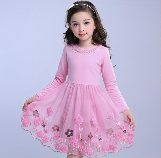 4-13Y Girl Cotton Tulle Dress 2017 Autumn Children Party Dresses Fashion Girl Fall Dress Embroidery Childrens Clothes 1