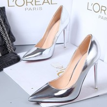 Fashion sexy gold single shoes ultra high heels pointed toe heels thin shiny silver female wedding shoes