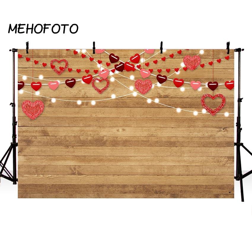 MEHOFOTO День Святого Валентина, фото фон Любовь Красный Сердце Фото декорация деревянная Напольная доска вечерние Декор реквизит