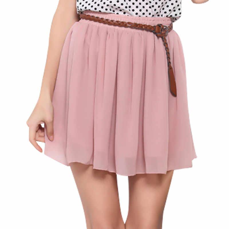 730669bdd RAISEVERN mujeres señora Chiffon Mini falda colegiala corto plisado ropa  elástico alta cintura Ruffle Casual playa verano falda