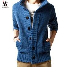 Новинка, толстый модный брендовый свитер для мужчин, s Кардиган, облегающие вязаные Джемперы, теплая Осенняя повседневная одежда в Корейском стиле для мужчин