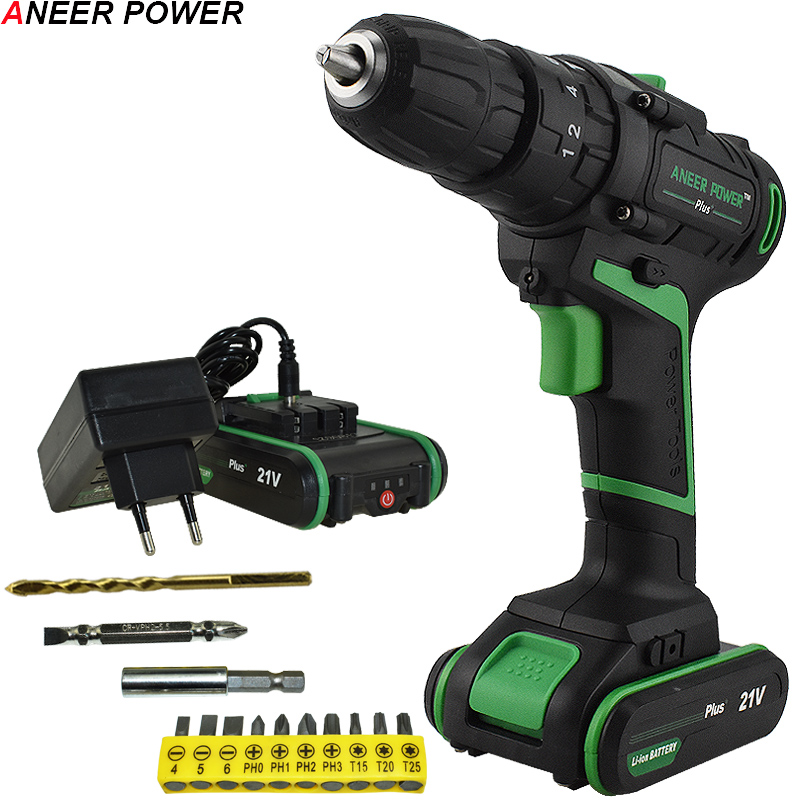 21V Double Speed Battery Impact Drill Electric Screwdriver Electric Hand Drill Home Diy Power Tools Cordless