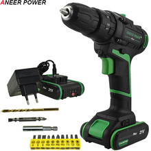 цена на 21V Double Speed Battery Impact Drill Electric Screwdriver Electric Hand Drill Home Diy Power Tools Cordless Hammer Drill+Gift