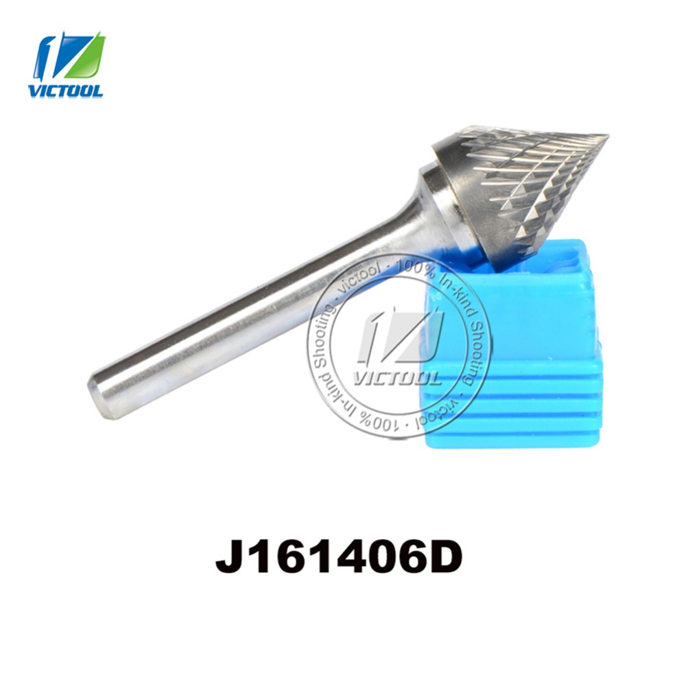 tungsten carbide J cone 60 degree 16*14mm rotary burr file cutter grinding and abrasive tools J161406D 6mm shank milling tools