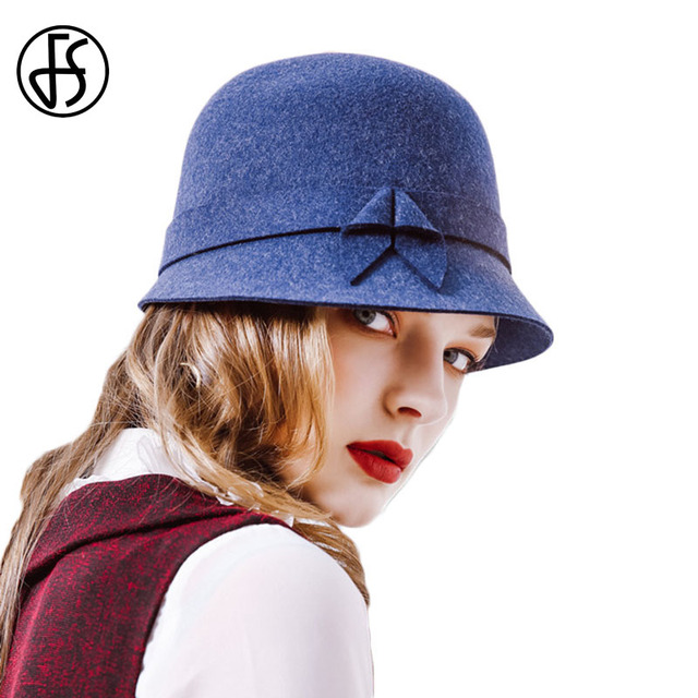 b0a27559afb 2018 New Elegant Women Winter Wool Hats Felt Female Short Brim Cloche Round Hat  Ladies Dome Blue Purple Brown Fedora Hats