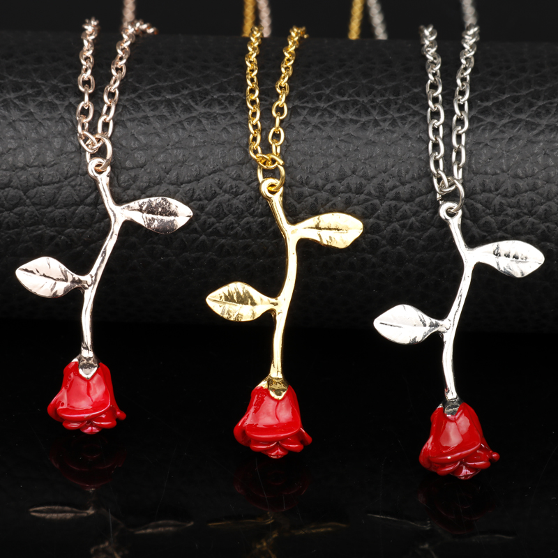 MQCHUN Beauty and the Beast Necklace Long Roses Flower Pendant Necklaces Sweater Chain Anniversary Wedding Gifts Accessories