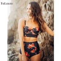 Sexy New High Waist Bikini Swimwear Women Swimsuit Push Up Biquini Floral Print Bikinis Women Bathing