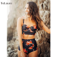 Sexy New High Waist Bikini Swimwear Women Swimsuit Push Up Biquini Floral Print Bikinis Women Bathing