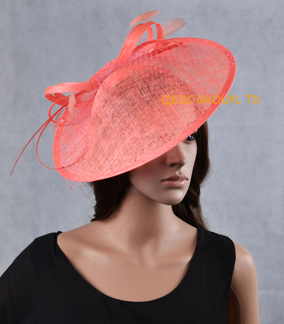 NEW Wholesale Attractive multiple color 17 colours Coral pink big Sinamay  fascinator hat for kentucky derby  c094d08c9d9c