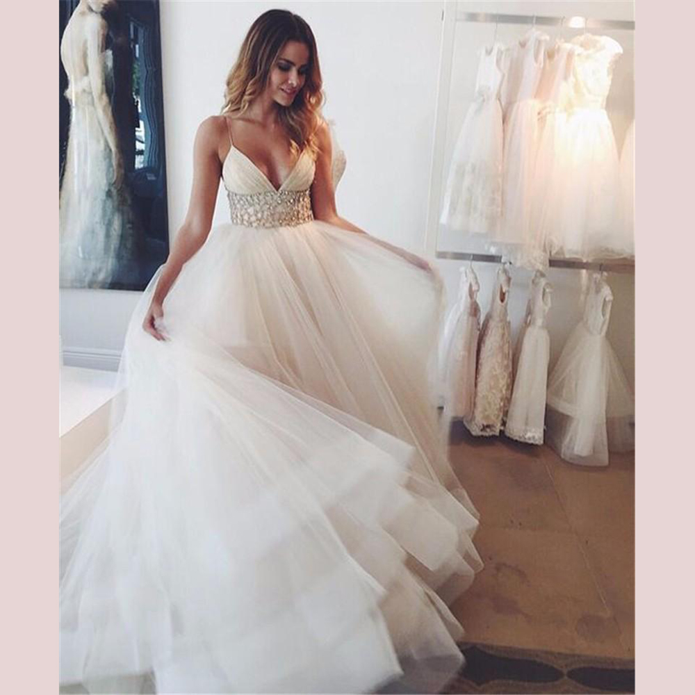 Crystals Wedding Dress Spaghetti Straps Sexy Dress Deep-V-neck Custom Made Backless Pleats Hot Sale