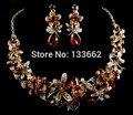 Libélula colar brincos set cor marrom conjunto de jóias de cristal do partido da flor do casamento de noiva conjunto de jóias FRETE GRÁTIS