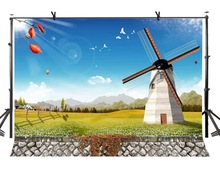150x220cm Windmill Backdrop Sunny Sky Photography Background for Camera Photo Props