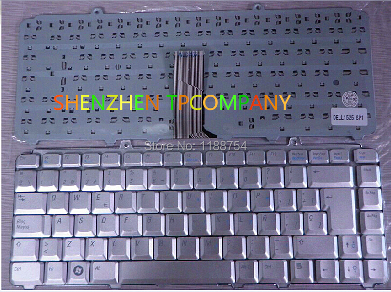 Brand New Spanish keyboard  ForDell inspiron 1400 1520 1521 1525 1526  Service SP version SILVER