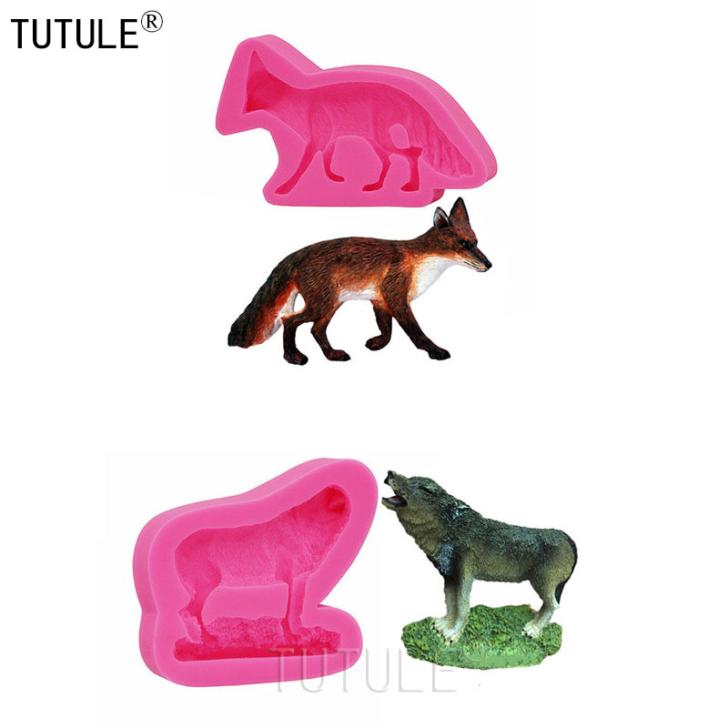 foxes silicone rubber flexible food safe Mold Cute fox Silicone Mold Wolf Silicone Mold Cake Clay Chocolate Cookies Wolf Mold in Clay Extruders from Home Garden