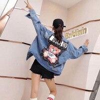 Women's Denim Jacket 2019 Sequins Pearls Punk Batwing Sleeve Female Jacket Ladies Loose Vintage Streetwear Jeans Jacket Coat