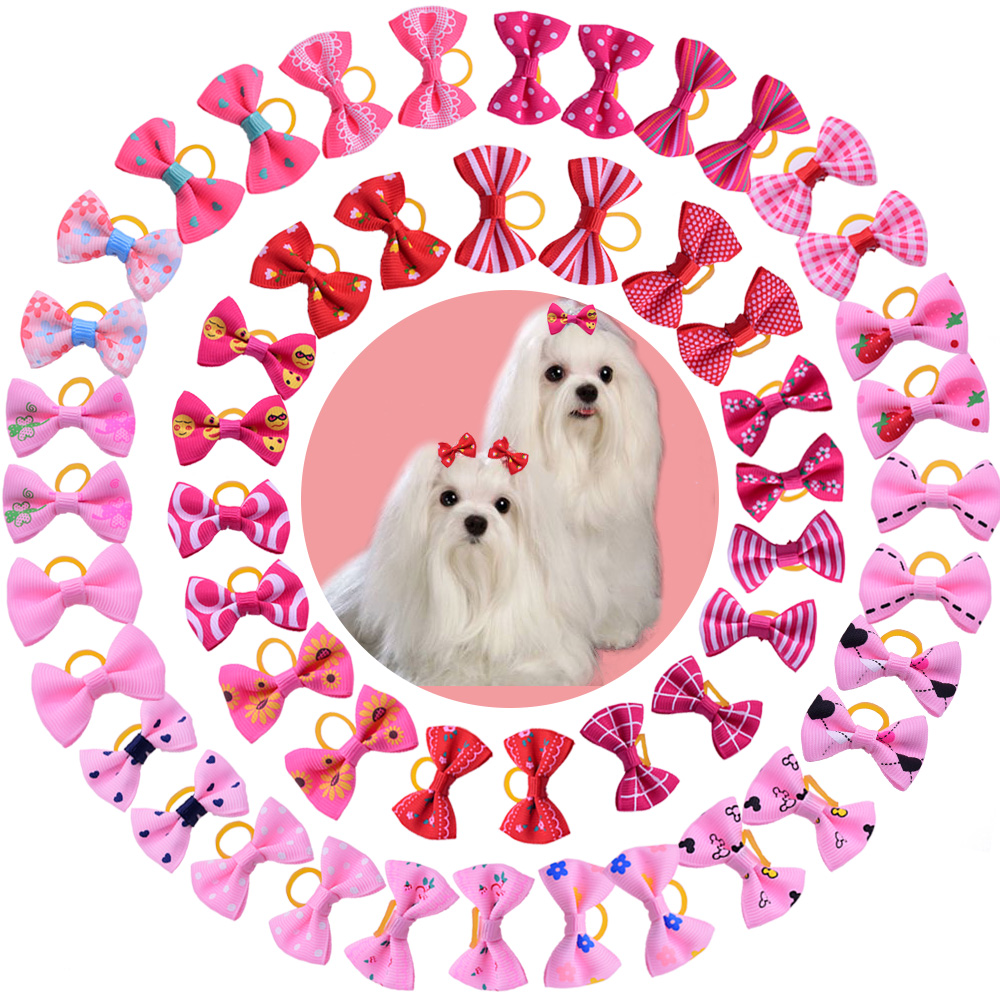 100 pcs Chien Toilettage Arcs Rose Rouge rose rose Chat Pet cheveux arcs Princesse filles cheveux accessoires Pour Animaux Chien Bowknot Caoutchouc bandes