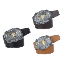 Womens Mens Vintage Western Cowboy Leather Belt Waistband Arabesque Cow Head Buckle Adjustable