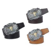 Womens Mens Vintage Western Cowboy Leather Belt Waistband Arabesque Cow Head Buckle Adjustable