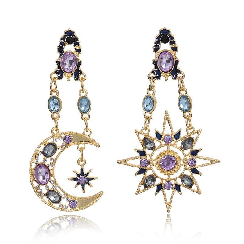 FLDZ 2019 New Fashion Sun Moon Shape Crystal Metal Drop Earrings For Women Gold Long Earring Modern Jewelry Accessories Gifts