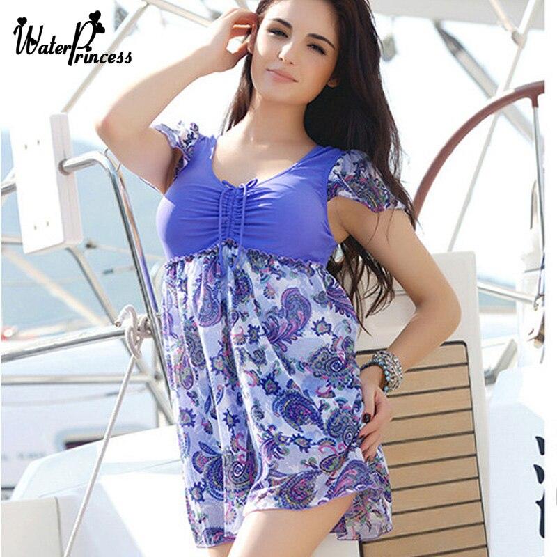 WATER PRINCESS One Piece Blue Bikini Skirt 2017 Swimsuit Plus Size Swimwear Sexy women's swimming suit Biquini Summer Bather plus size scalloped backless one piece swimsuit