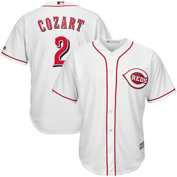 MLB Mens Cincinnati Reds Zack Cozart Baseball White Home Cool Base Player Jersey