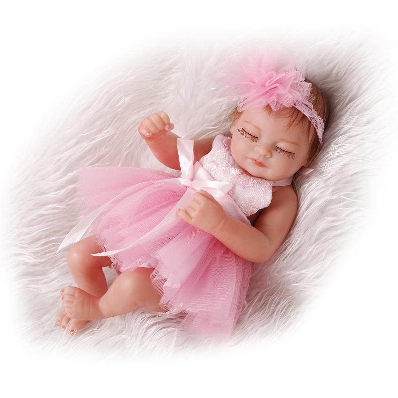 buy one piece 10 inch girl silicone baby doll reborn realistic lifelike bebe. Black Bedroom Furniture Sets. Home Design Ideas