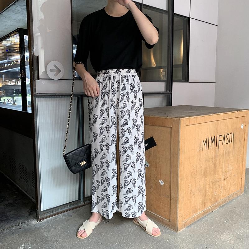 summer cool chiffon print loose   wide     leg     pants   trousers