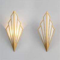Пост современный простой Северное золото/черный Медь ткань светодиодные G9 бра для Гостиная ТВ фон Спальня проход лестницы деко 1667