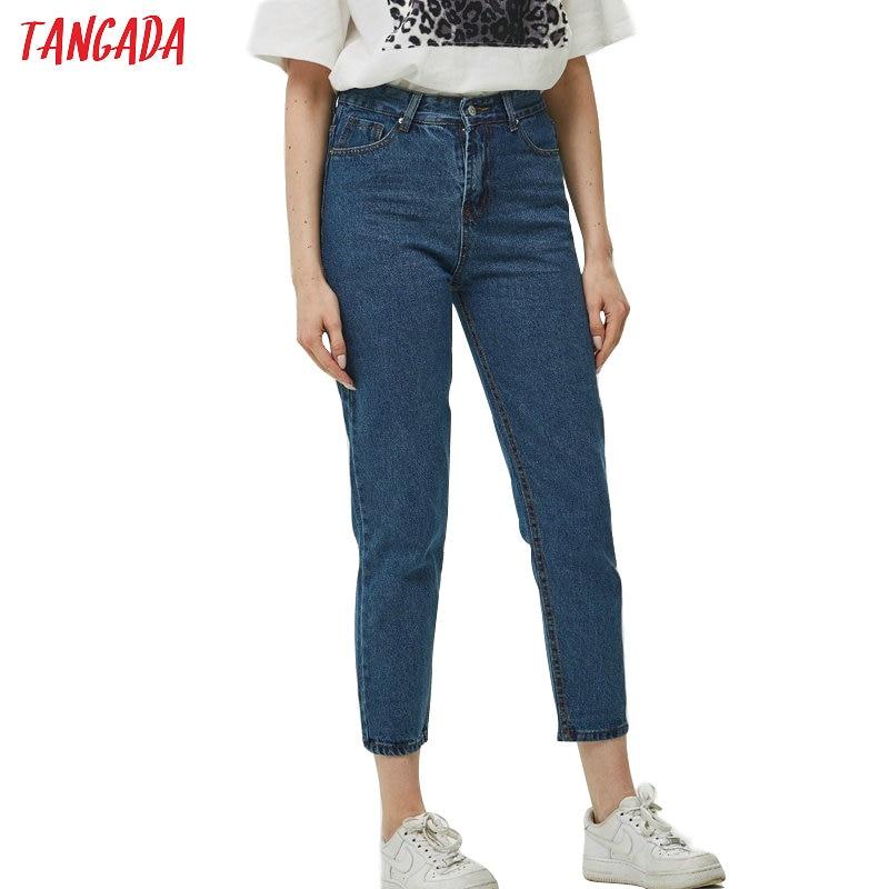 Tangada 2019 boyfriend   jeans   woman loose cozy   jeans   blue mom pants   jeans   women casual high street   jean   femme FN24
