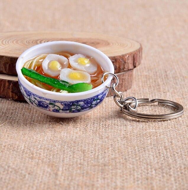 Mini Simulation Food Key chain Cute Car Bag keychain Mini Bowl Food 14 Design for Women Bag charm Key Ring Mujer Jewelry