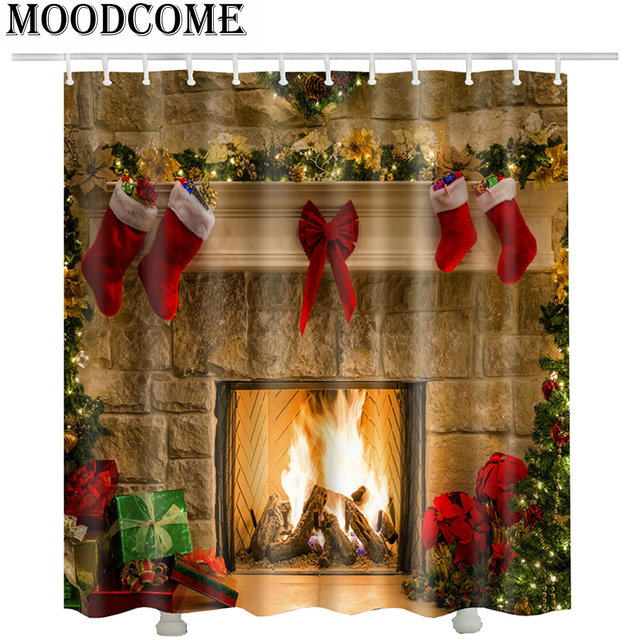 Christmas Shower Curtains Home Docrtation Cortina De Ducha Gift Red Ocks Fireplace Bathroom Curtain