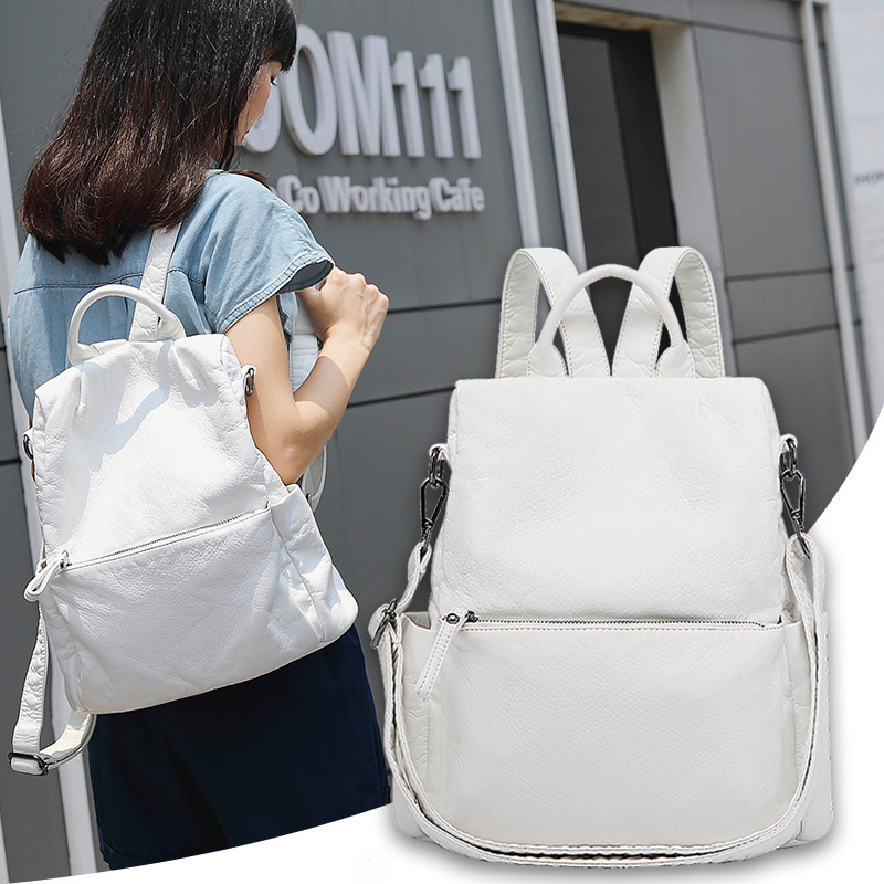 High Quality Pu Leather Women Backpack Anti-theft Luxury White Women's Backpacks For Travel Woman Back Pack Shoulder Bags Female