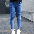 Children autumn trousers for baby spring fashion stretch pants 3 4 6 7 8 9 1012 years girl feet pants 2016 new girl ripped jeans