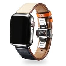OSRUI Leather strap for Apple watch band 4 44mm 40mm watchband Iwatch 42mm 38mm Butterfly buckle wrist Bracelet belt series 3 2 цена и фото