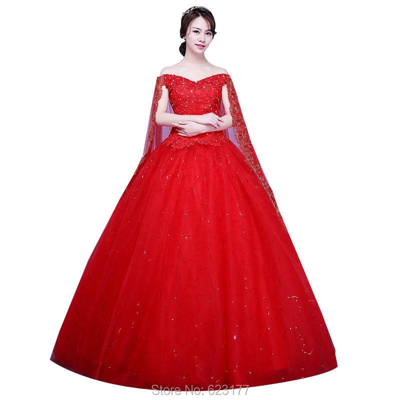 iGown Cheapest Red Wedding Dress Plus Size Wedding Dress With Cape