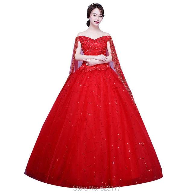 iGown Cheapest Red Wedding Dress Plus Size Wedding Dress With Cape ...