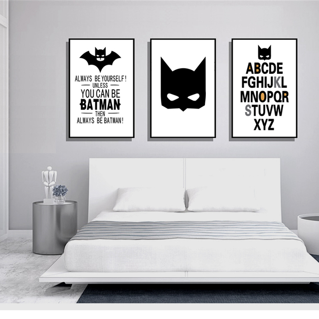 Minimalist nordic decoration poster batman art posters and prints black white wall picture kids room decor