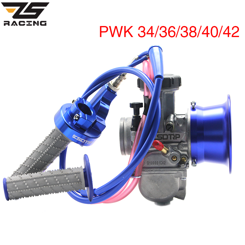 ZS Racing PWK 34 36 38 40 42mm Carburetor+Air Filter Cup+Handle Grip+Throttle Grip+Engine Link For ATV UTV Racing Off road