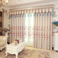 European And American Style Floral Embroidered Shading Curtains Beige Color For Living Rooms Bed Rooms Children