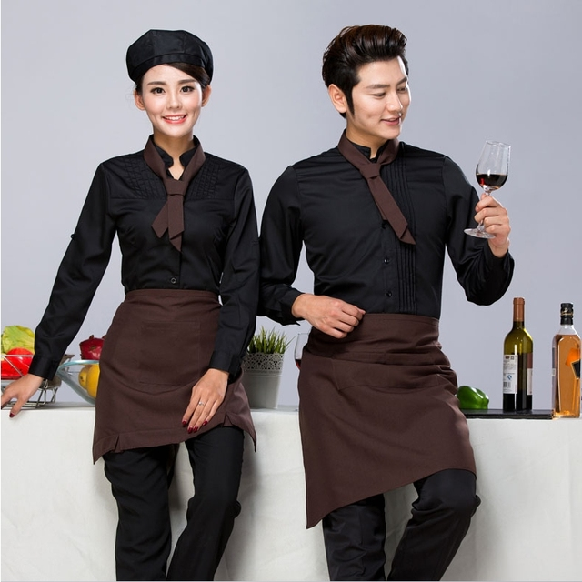 fe9284fa Coffee House Server Long Sleeve Work Shirt+Apron+Tie Sets Women and Men  Hotel Cafeteria Uniform Cheap Hotpot Waiter Clothing