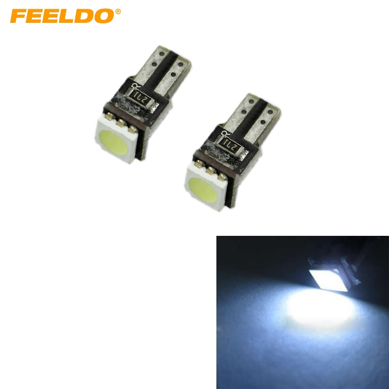 200X White T5 <font><b>W5W</b></font> 194 CANBUS 5050 1SMD 1LED Car Side Wedge <font><b>LED</b></font> Light Lamp <font><b>Bulb</b></font> #FD-1819