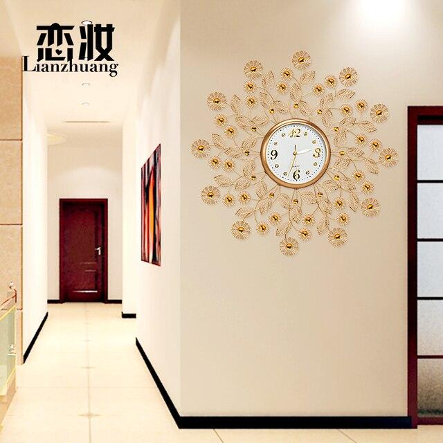 Amour maquillage montre horloge salon horloge murale creative m tal dor manger chambre for Montre decoration