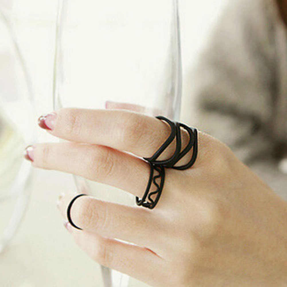 Korean Style Fashion Black Paint Hollow Ring Three Ring High Quality Finger Joints Three Piece Ring Set