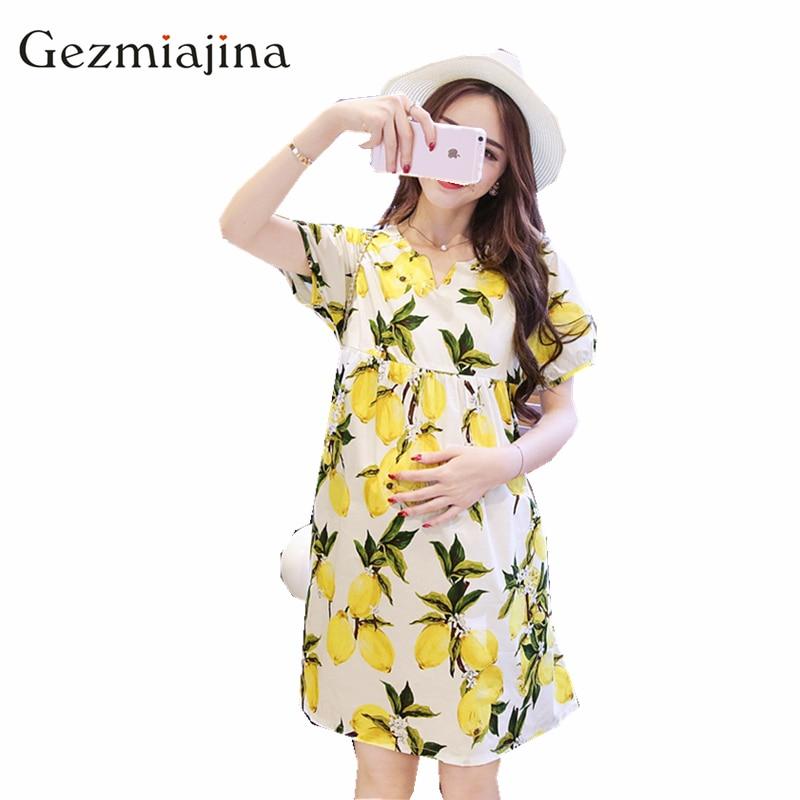 Yeni yaz analık giyim Moda gevşek büyük boy kısa kollu baskı emzirme hamile elbisesi Hemşirelik giysileri