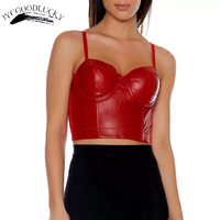 Summer PU Sexy Crop Top Women Sexy Camisole Push Up Bustier Top Cropped Bra Party Corset